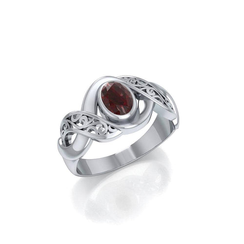 Silver Bold Filigree Ring with Gemstone TR745