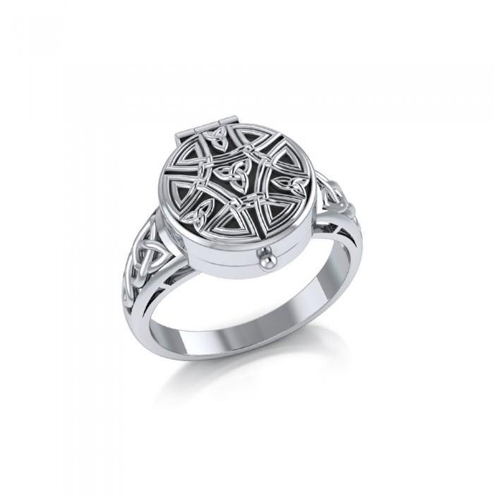Celtic Knotwork Silver Poison Ring TR845