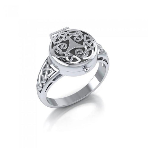 Celtic Knotwork Spiral Poison Ring TR846 peterstone.