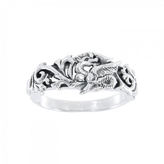 Dragon Scroll Silver Ring