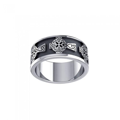 Shield of the Celtic Cross ~ Sterling Silver Jewelry Ring TR957 peterstone.