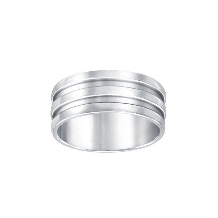 Grooved Silver Wedding Ring TR965
