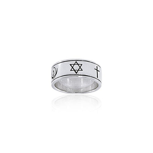World Faiths Silver Ring TRI056 peterstone.