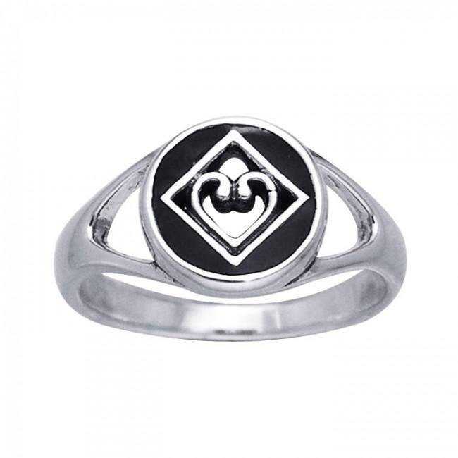 NA Heart in Recovery Silver Ring TRI098 peterstone.