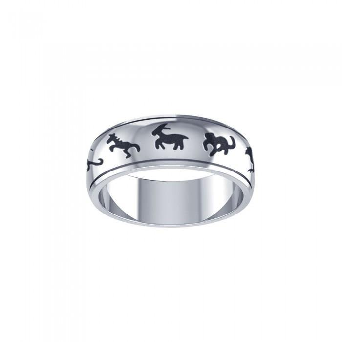 Chinese Astrology Silver Ring TRI102 peterstone.