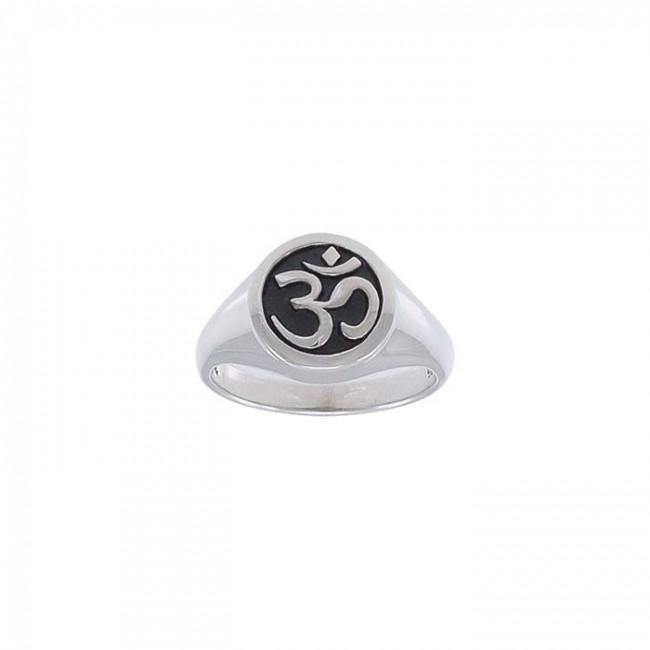 Round Om Symbol Silver Ring TRI1221 peterstone.