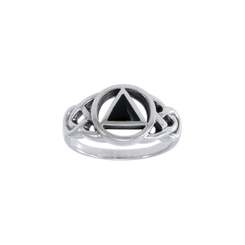 AA Recovery Inlaid Silver Ring TRI1273 peterstone.