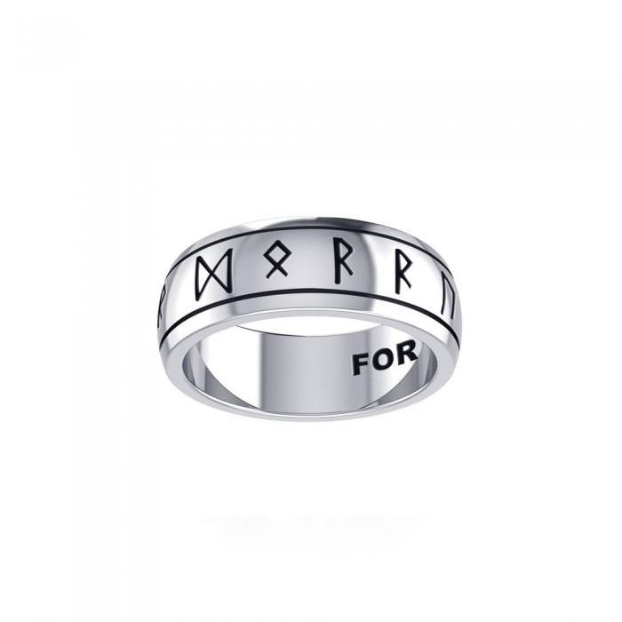 Runic Silver Spinner Band Ring TRI1296