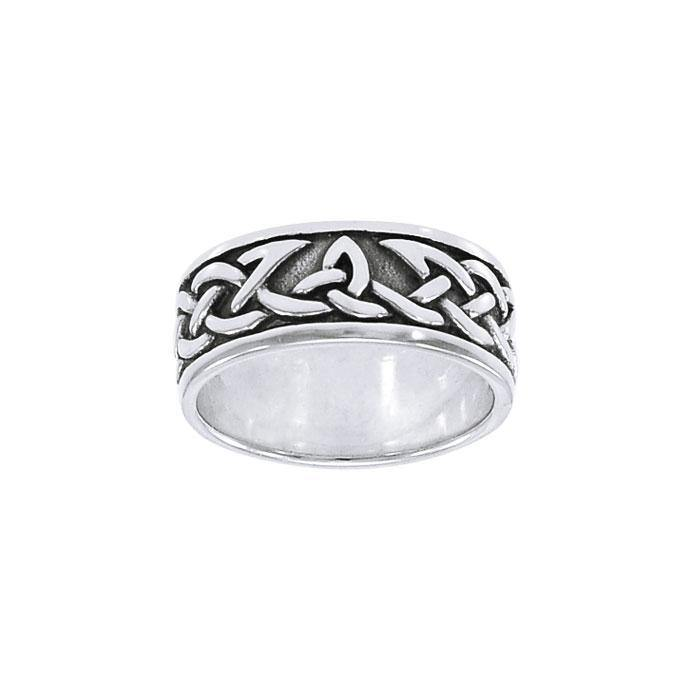 Honoring the eternal symbolism Celtic Knotwork ~ Sterling Silver Band Ring TRI1358 peterstone.