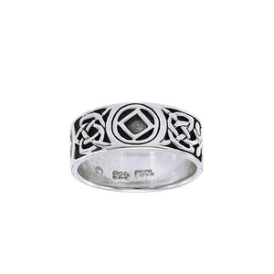NA Recovery Symbol Silver Band Ring TRI1384 peterstone.