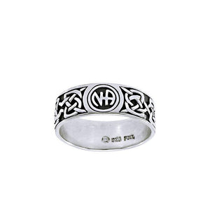 NA Recovery Symbol Silver Band Ring TRI1385 peterstone.