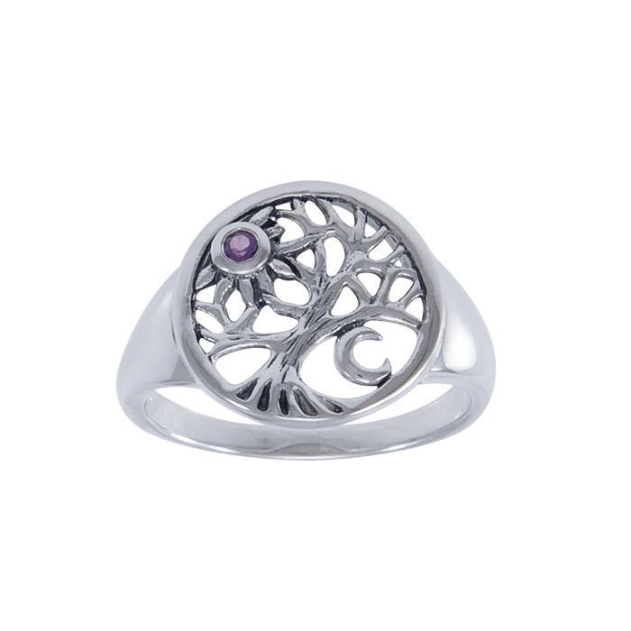 Journey through Life and Universe ~ Sterling Silver Tree of Life Ring with Moon and Sun Gemstone TRI1538