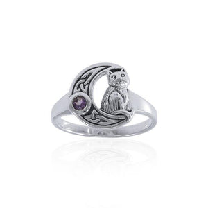 Celtic Cat Sterling Silver Moon Ring TRI1541 peterstone.