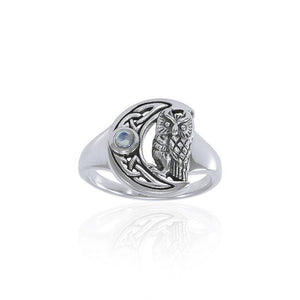 Celtic Owl Moon Ring TRI1542 peterstone.