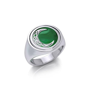 Celtic Crescent Moon Silver Flip Ring with Gemstone TRI155