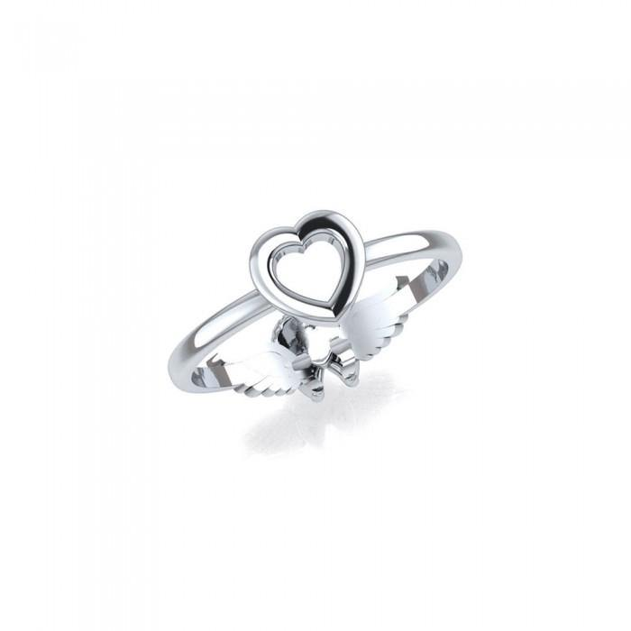 Cupid and Heart Sterling Silver 2 in 1 Ring TRI1679 peterstone.