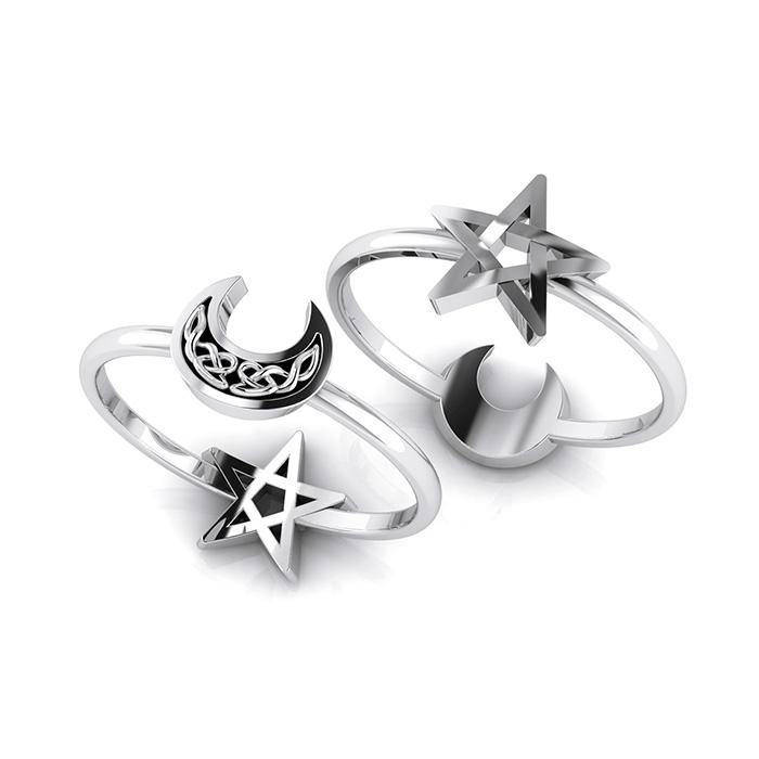 Celtic Crescent Moon and Star Sterling Silver 2 in 1 Ring TRI1681