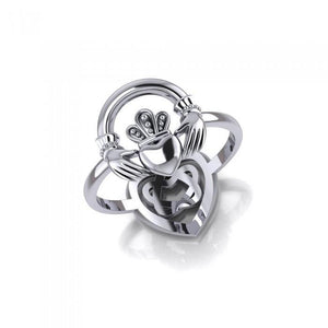 Claddagh and Celtic Heart Sterling Silver 2 in 1 Ring TRI1682