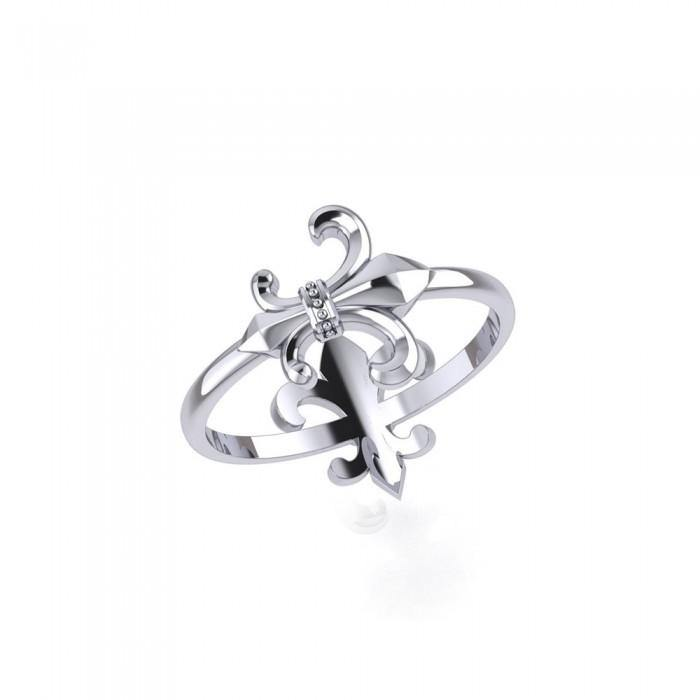 Multi-faceted Fleur-de-Lis ~ Sterling Silver Jewelry Ring TRI1684 peterstone.