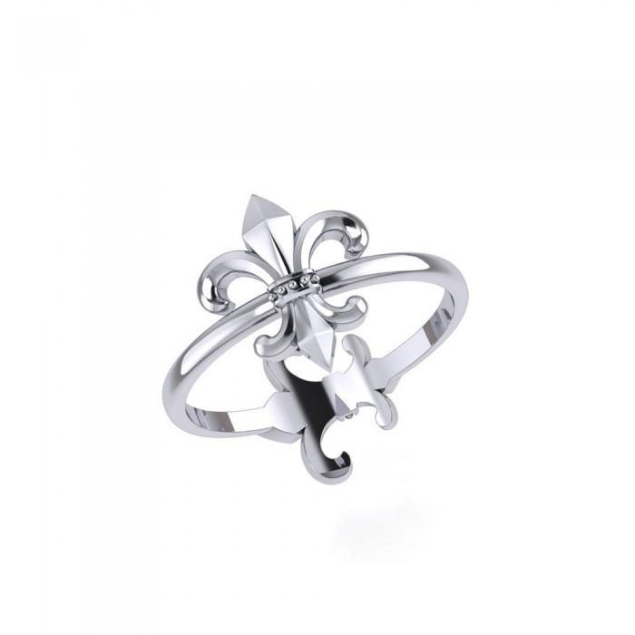 Fleur De Lis Sterling Silver 2 in 1 Ring