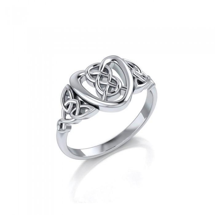 Celtic Heart Sterling Silver Ring TRI1695 peterstone.