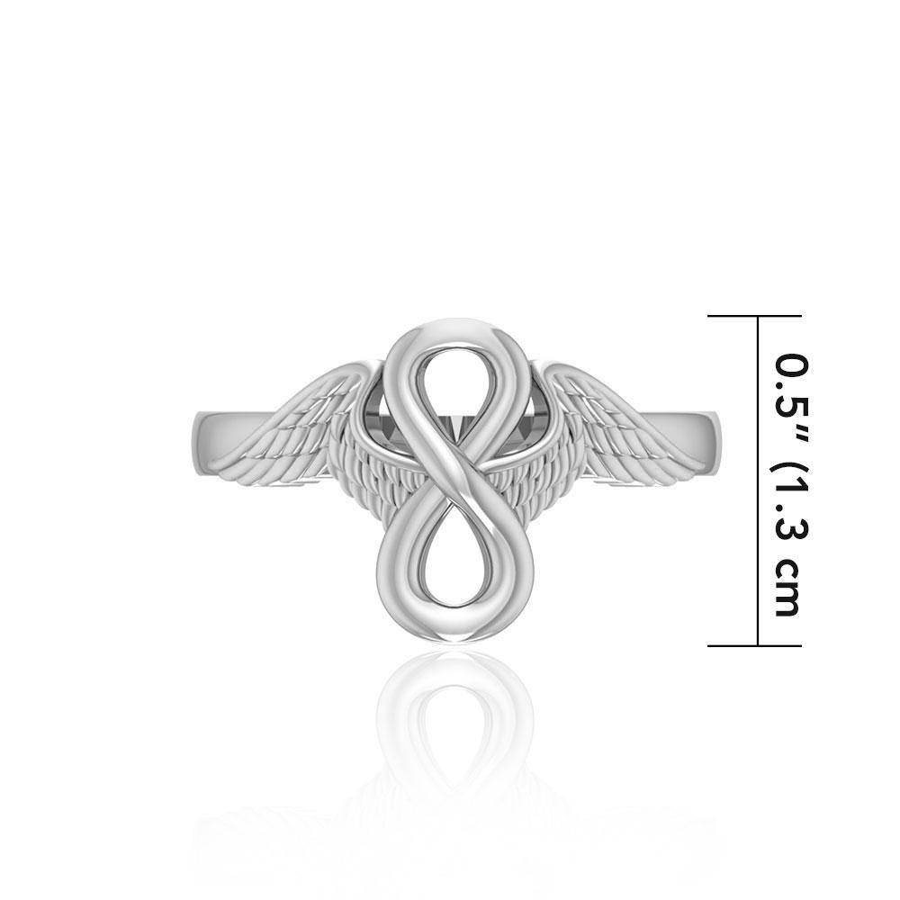 Angel Wings with Infinity Sterling Silver Ring TRI1711