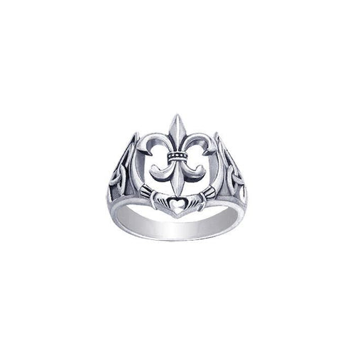 A powerful combination of Celtic elements ~ Sterling Silver Jewelry Ring in Fleur-de-Lis and Claddagh TRI172