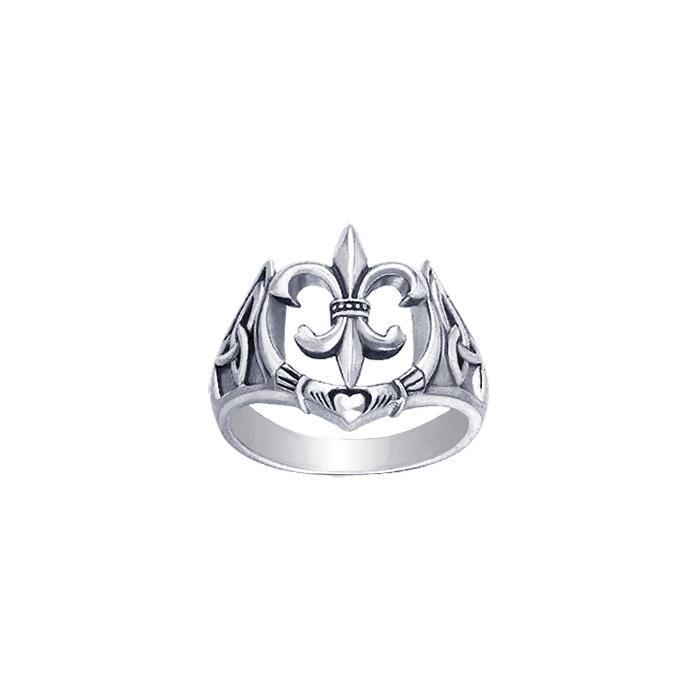 Fleur De Lis and Claddagh Silver Ring TRI172
