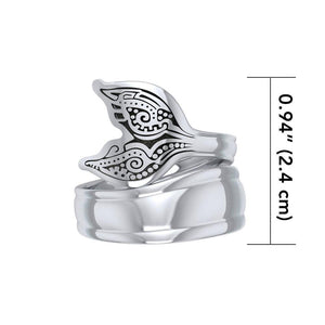 Aboriginal Whale Tail  Sterling Silver Spoon Ring TRI1734