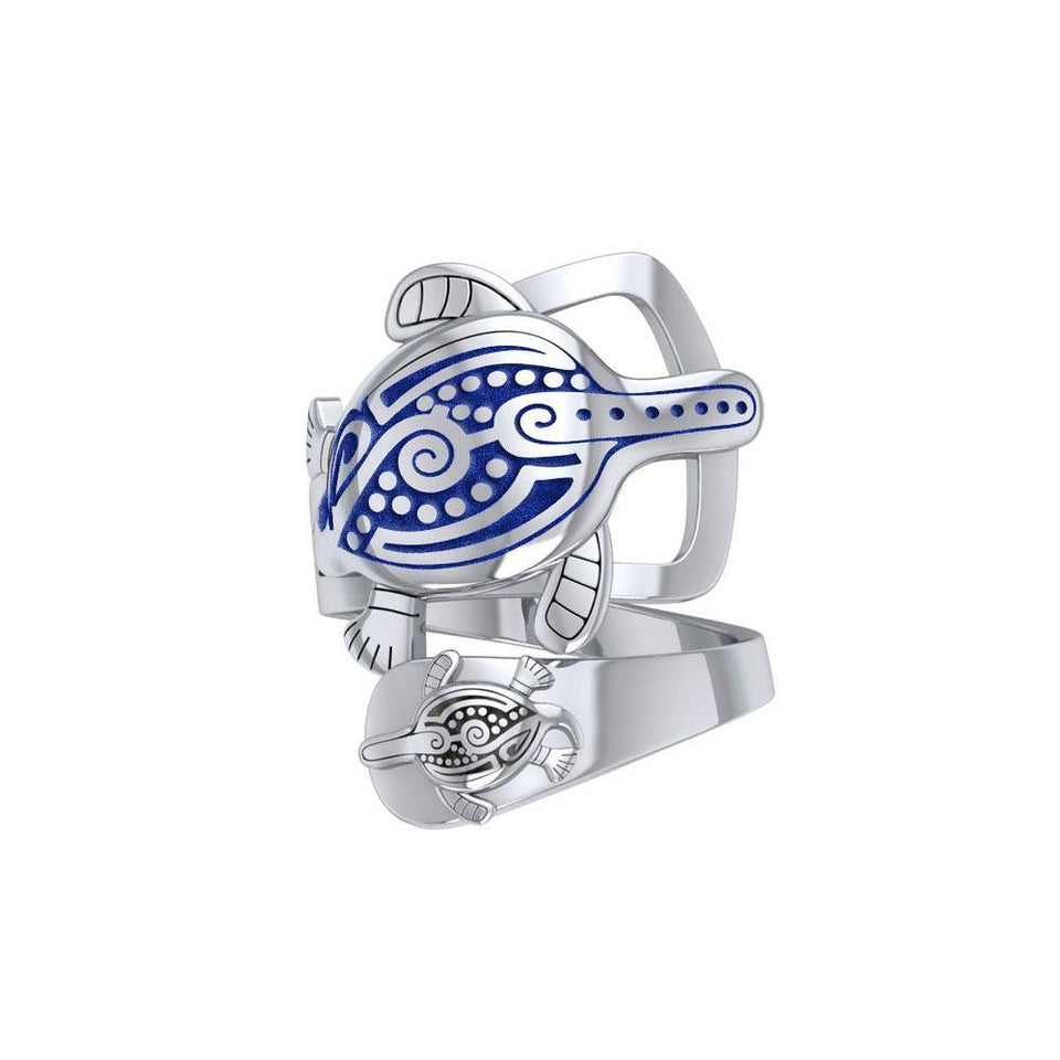 Aboriginal Inspired Turtle Sterling Silver Ring TRI1739 peterstone.