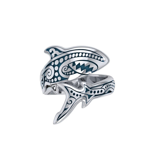 Silver Aboriginal Blue Shark Spoon Ring TRI1769