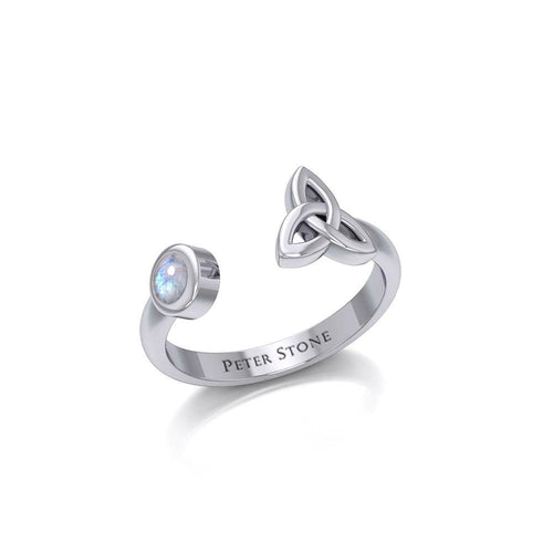 Small Silver Trinity Knot Ring with Gemstone TRI1799 peterstone.