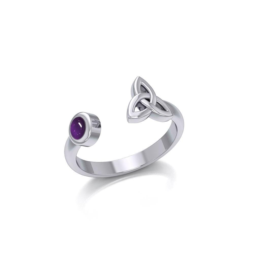 Small Silver Trinity Knot Ring with Gemstone TRI1799