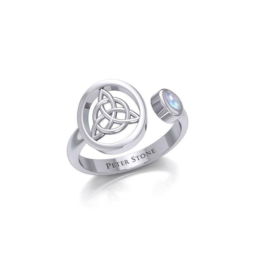Small Silver Triquetra Ring with Gemstone TRI1800 peterstone.