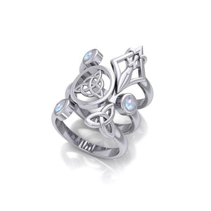 Silver Trinity Knot Triquetra and Goddess Stack Ring with Gemstone TRI1802 peterstone.