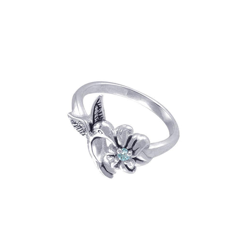 Silver Flying Hummingbird with Gemstone Flower Ring TRI1803