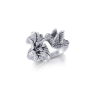 Hummingbird Suspended in Flight and Sweet Flowers Nectar Shimmering in Sterling Silver Ring TRI1805 peterstone.