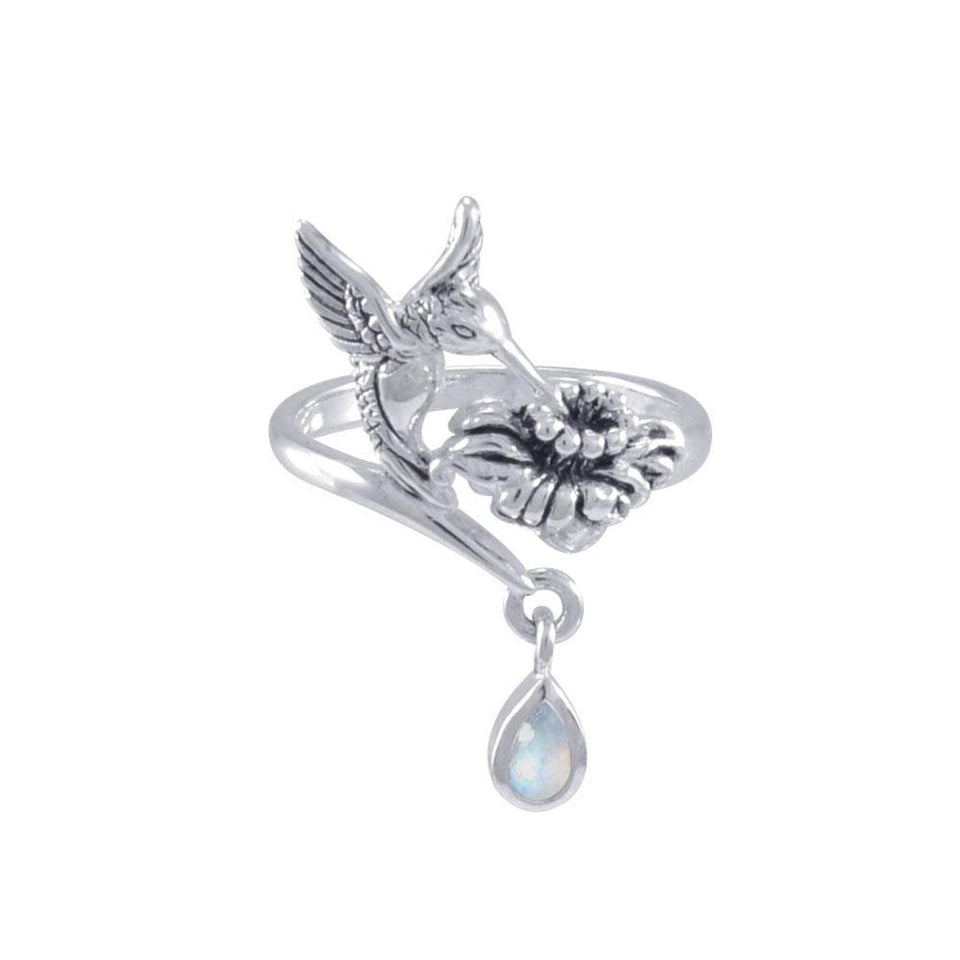 Silver Flying Hummingbird with Dangling Gemstone Flower Ring TRI1808 peterstone.