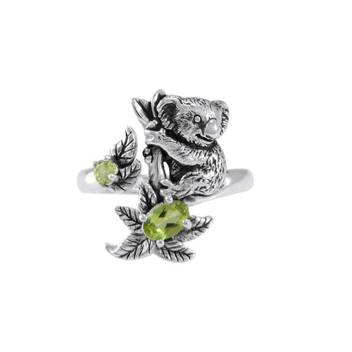 Koala Bear with Gemstone Flower Silver Ring TRI1819 peterstone.