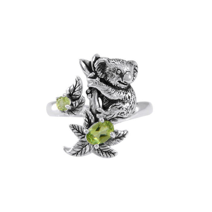 Koala Bear with Gemstone Flower Silver Ring TRI1819