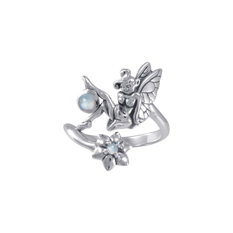 Fairy with Flower Silver Ring with Gemstones TRI1820