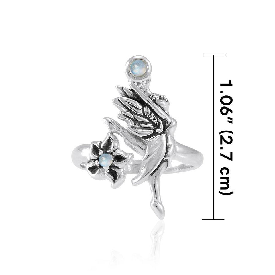 Dancing Fairy with Flower Silver Ring with Gemstone TRI1821 peterstone.