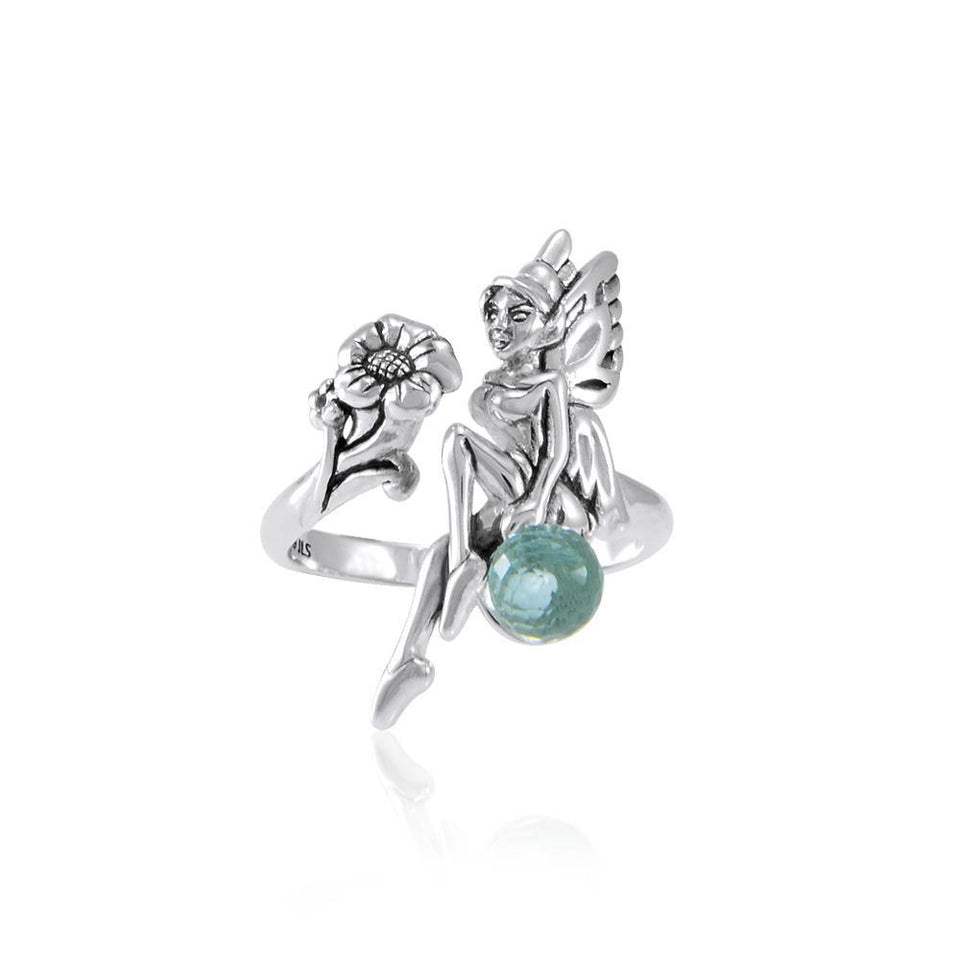 Fairy and Flower Silver Ring with Gemstone Ball TRI1823 peterstone.