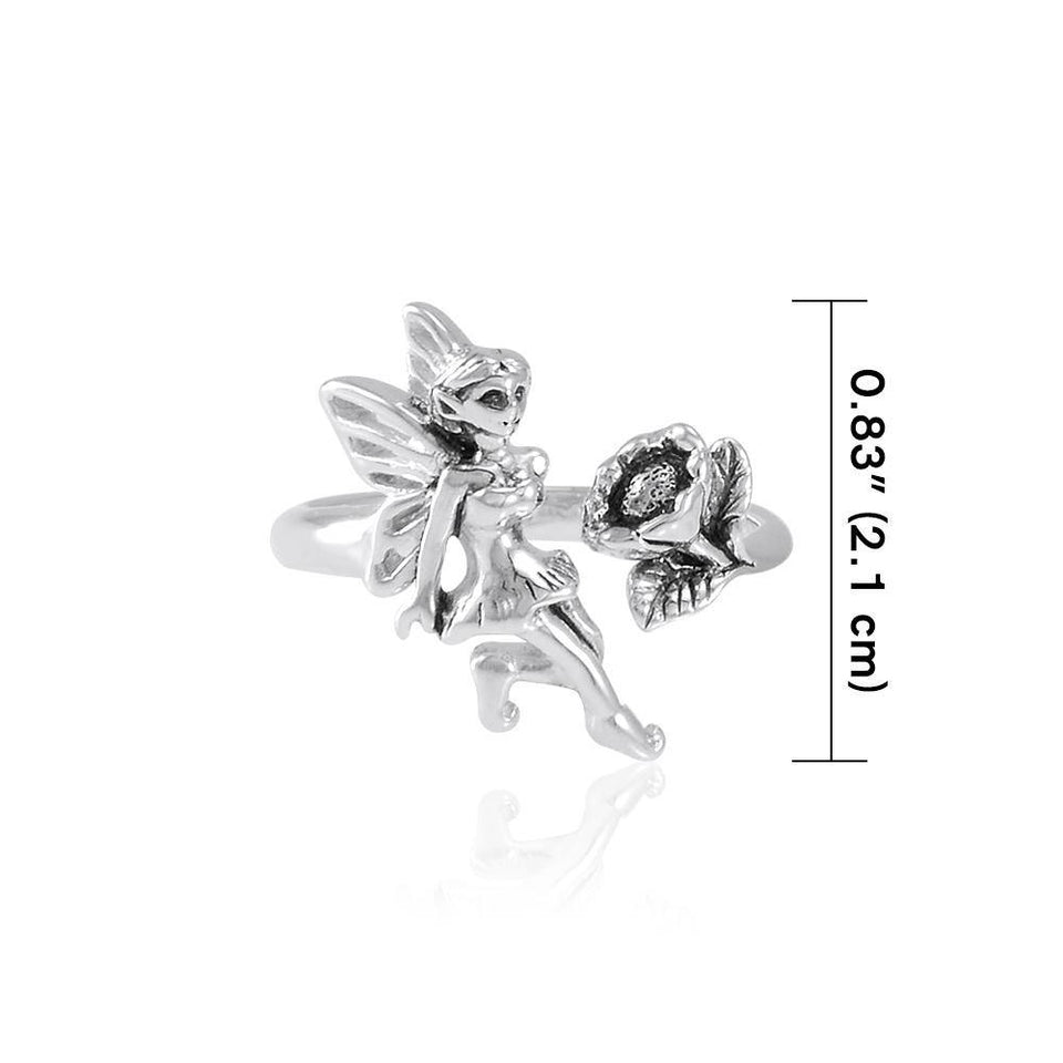 Fairy and Flower Silver Ring TRI1824 peterstone.