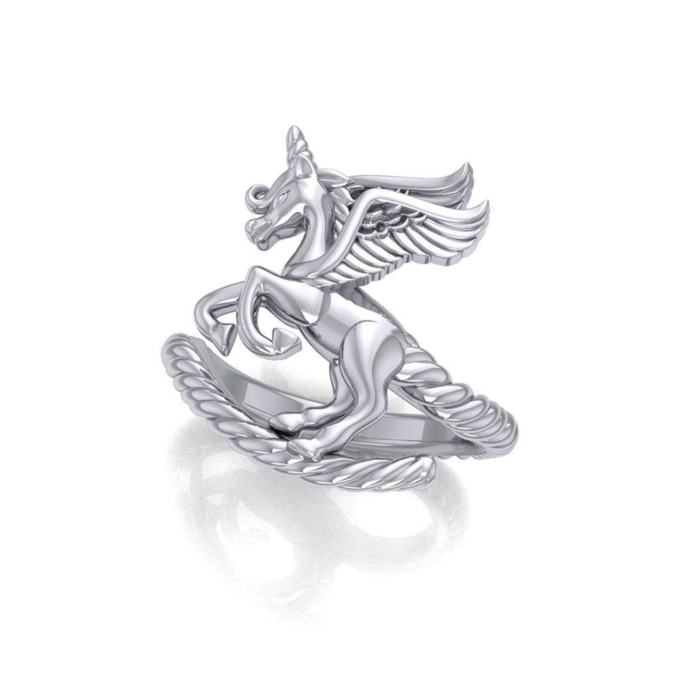 Enchanted Sterling Silver Mythical Unicorn Ring TRI1827 peterstone.