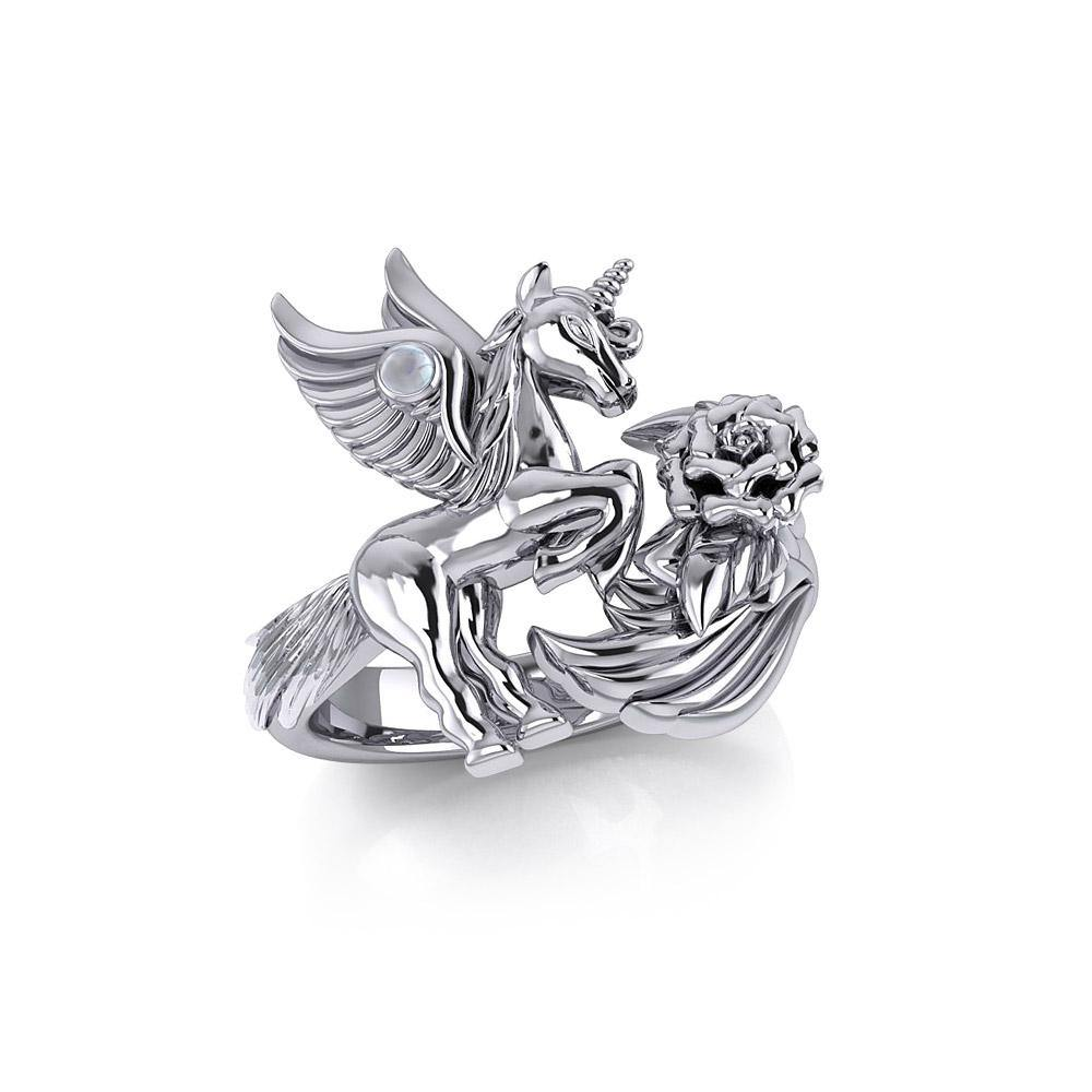 Enchanted Sterling Silver Mythical Unicorn Ring with Gemstone TRI1829