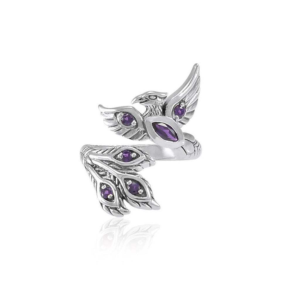 Alighting breakthrough of the Mythical Phoenix Silver Ring with Gems TRI1835 peterstone.