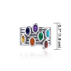 Oval Chakra Gemstone on Silver Stack Ring TRI1856 peterstone.