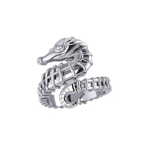 Seahorse Silver Wrap Ring TRI1859 peterstone.