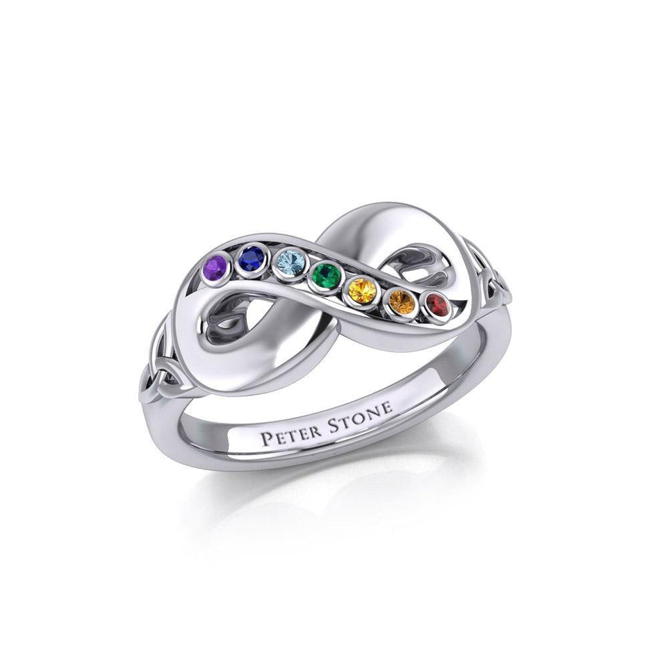 Silver Infinity Ring with Chakra Gemstones TRI1862